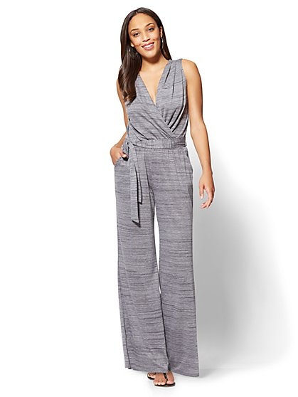 Wrap Jumpsuit - Heather Grey - New York & Company