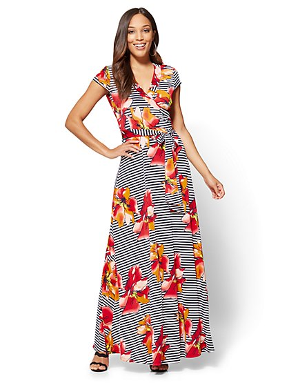 Wrap Maxi Dress - Floral & Stripe - New York & Company