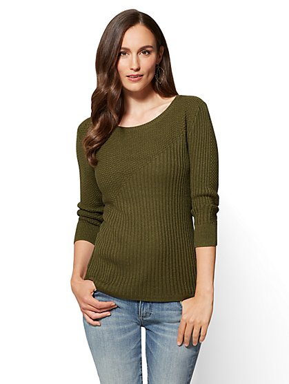 Zip-Accent Bateau-Neck Sweater - New York & Company