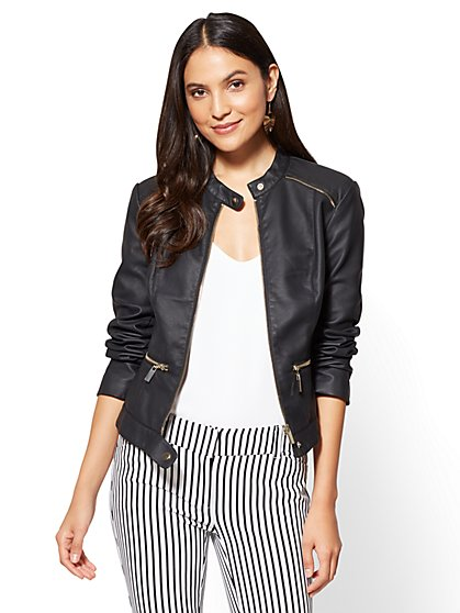 Zip-Accent Faux Leather Moto Jacket - New York & Company