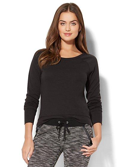Zip-Accent Hi-Lo Sweatshirt - Black - New York & Company