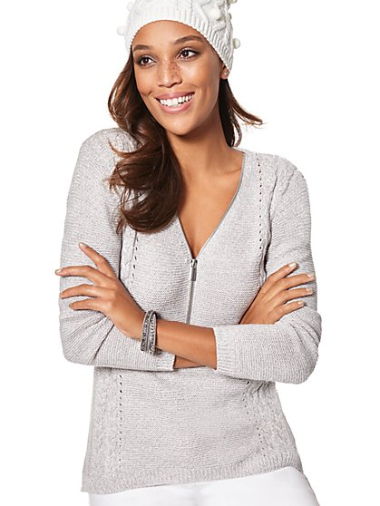 Zip-Accent Hi-Lo Tunic Sweater - Marled - New York & Company