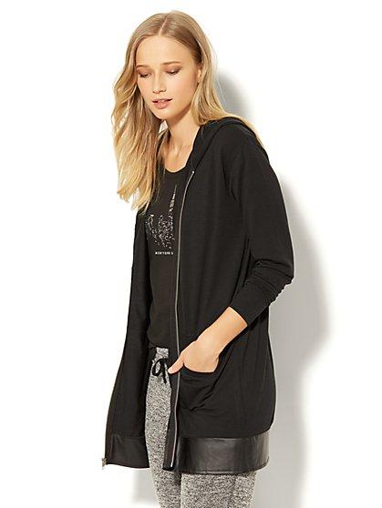 Zip-Accent Hooded Tunic Sweatshirt - New York & Company