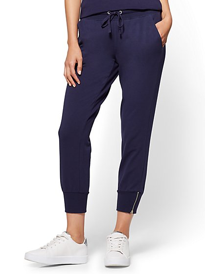 Zip-Accent Jogger Pant - Navy - New York & Company