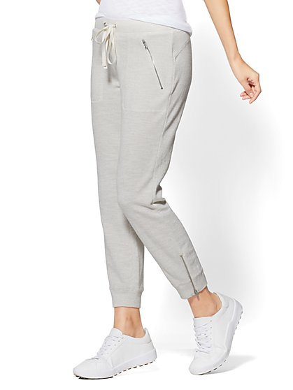 Zip-Accent Jogger Pant - Textured Knit - New York & Company