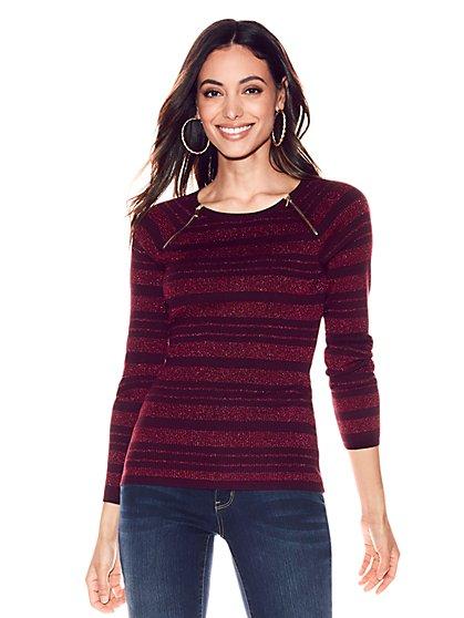 Zip-Accent Metallic Scoopneck Sweater - Stripe - New York & Company