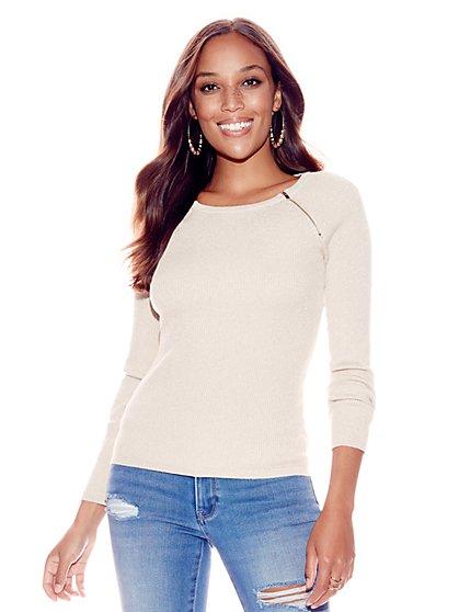 Zip-Accent Metallic Scoopneck Sweater - New York & Company