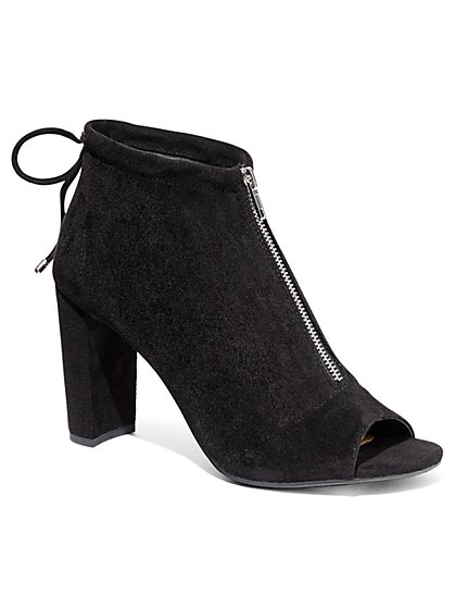 Zip-Accent Open-Toe Bootie - New York & Company