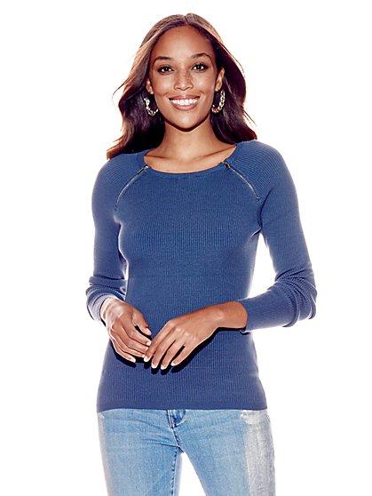 Zip-Accent Raglan Sweater - New York & Company
