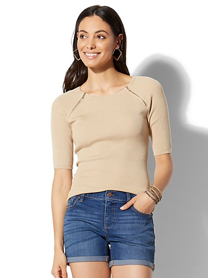 Zip-Accent Ribbed-Knit Sweater - New York & Company