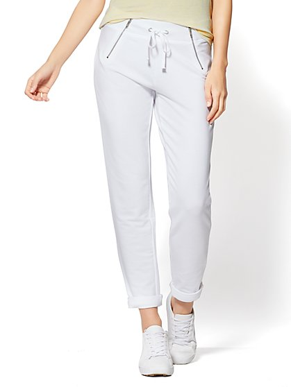 Zip-Accent Slim Jogger Pant - New York & Company