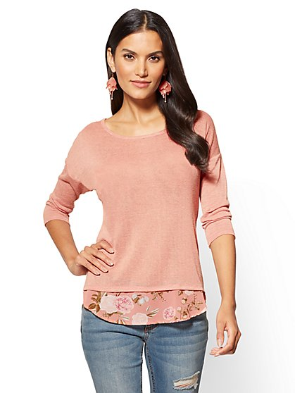 Zip-Back Twofer Sweater  - New York & Company
