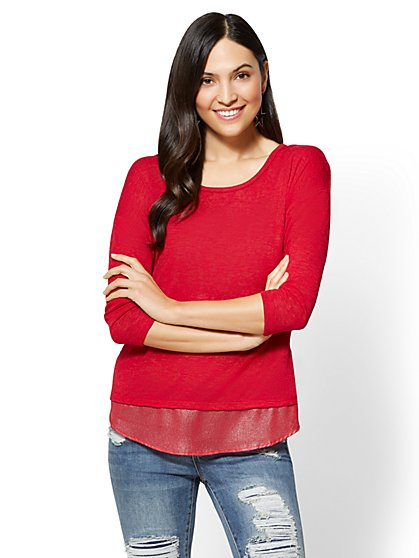 Zip-Back Twofer Top - New York & Company
