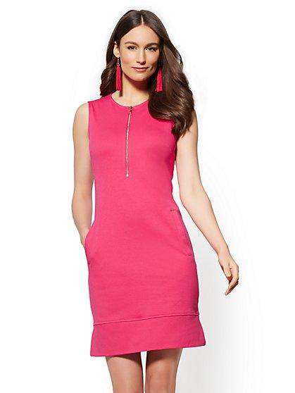 Zip-Front Cotton Shift Dress - New York & Company
