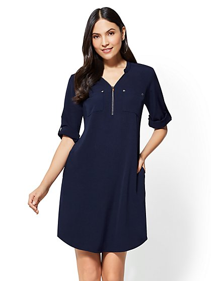 Zip-Front Shift Dress - New York & Company