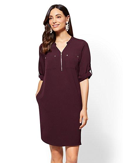 Zip-Front Shift Dress - New York & Company