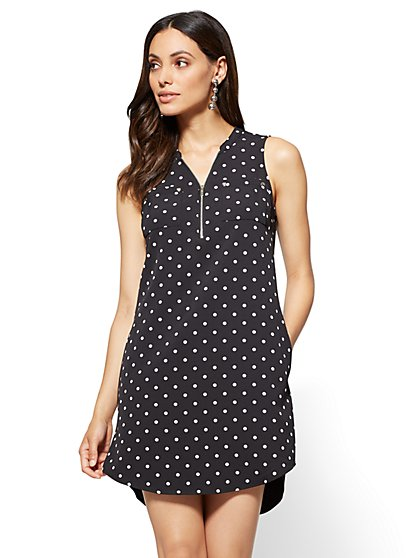 Zip-Front Sleeveless Shift Dress - Black - Dot Print - New York & Company