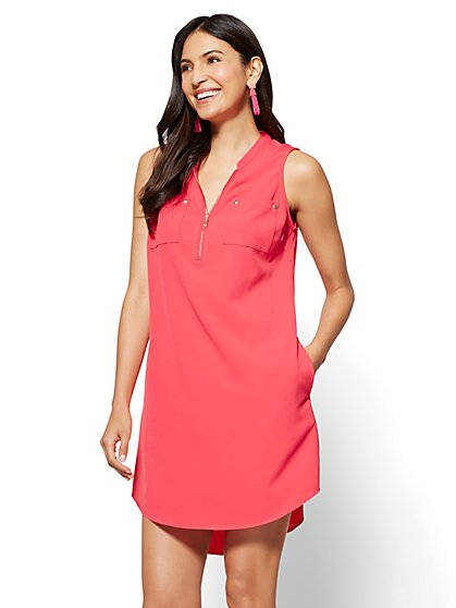 Zip-Front Sleeveless Shift Dress - New York & Company