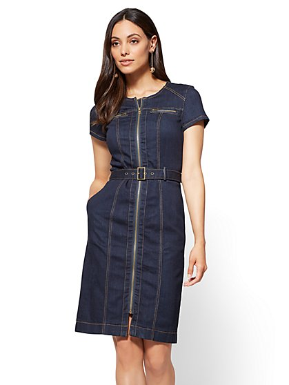Zip-Front Stretchy Denim Sheath Dress - Rinse - New York & Company