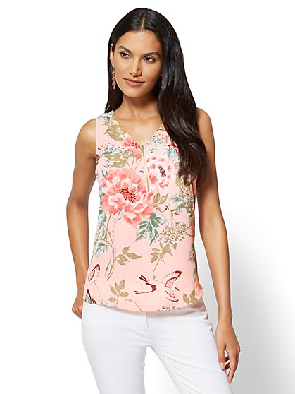 Zip-Front V-Neck Shell - Print - New York & Company