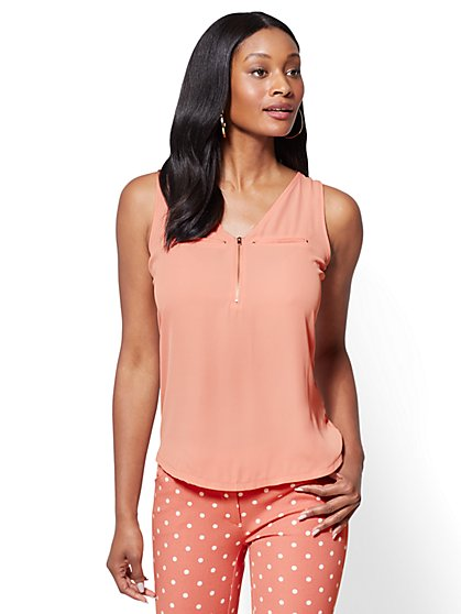 Zip-Front V-Neck Shell - New York & Company