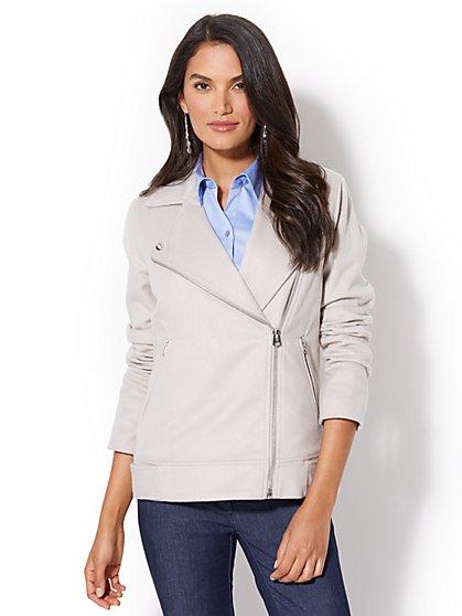 Zip Wool-Blend Moto Jacket - New York & Company