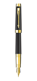 Premier Deep Black Lacquer Fountain Pen - Medium 18K gold nib