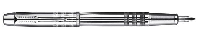 IM Premium Shiny Chrome Metal Chiselled Fountain Pen - Medium stainless steel nib