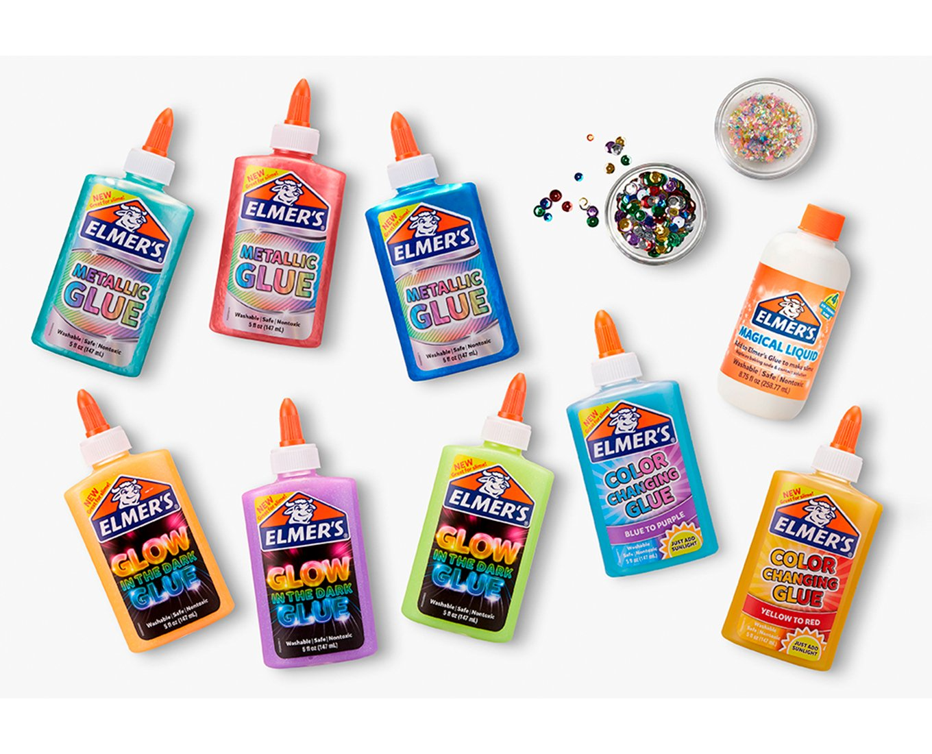 a variety of glue products and glitter