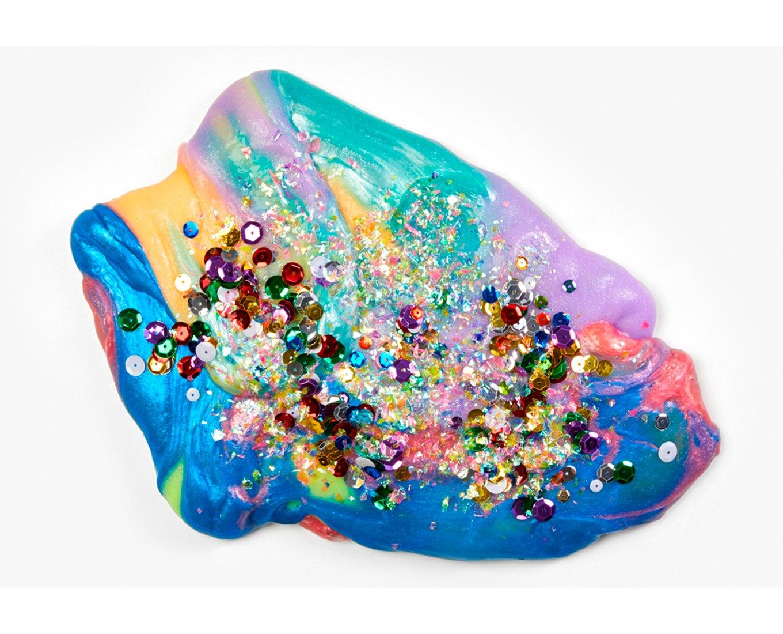 glittery multicolored slime