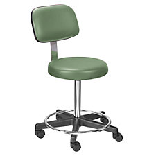 Encompass Threaded Stem Vinyl Stool with Back and Foot Rest, CH50639