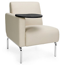 Triumph Right Arm Guest Chair with Chrome Legs and Tablet in Polyurethane, CH51211