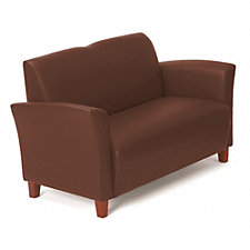 Faux Leather Flare Arm Reception Loveseat, CH03661