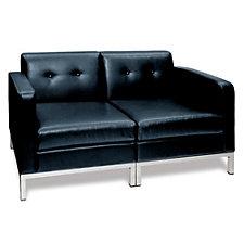 Wall Street Faux Leather Loveseat, CH03522