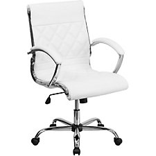 Whittier Bonded Leather Mid-Back Quilted Task Chair, CH51281
