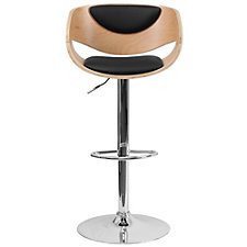 Hobbs Curved Wood and Vinyl Modern Breakroom Stool, CH51290