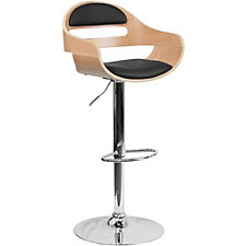 Hobbs Wood and Vinyl Curved Cutout Back Breakroom Stool, CH51291