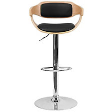 Hobbs Wood and Vinyl Curved Breakroom Stool, CH51292