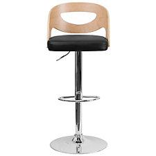 Hobbs Vinyl Seat and Wood Back Breakroom Stool, CH51294
