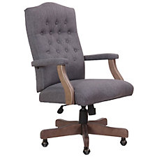 Widmore Fabric Button-Tufted Chair with Driftwood Frame, CH51817