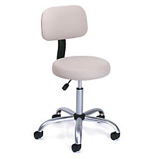 Beige Vinyl Doctor's Stool with Adjustable Height Back, CH03408