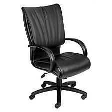 High Back Executive Computer Chair in Black Leather and Vinyl, CH00241