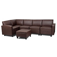 Tyler Faux Leather Five Seat L-Sofa with Ottoman, CH50703