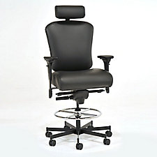 Faux Leather 24/7 Intensive Use Ergonomic Stool with Headrest, CH50573