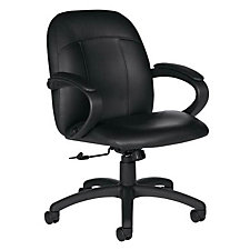 Leather Mid Back Executive Chair with Padded Loop Arms, CH02679