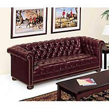 Chesterfield Traditional Leather Reception Room Sofa, CH03452