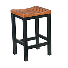 "Cottage Oak and Black Backless Bar Stool - 24""H Seat, CH04303"