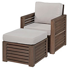 Barnside Polyester Indoor or Outdoor Arm Chair and Ottoman, CH51082