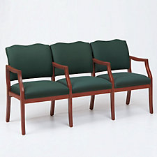 Traditional Style Three Seat Reception Chair with Center Arms, CH03276