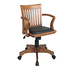 Fruitwood Bankers Chair with Black Padded Seat, CH04857